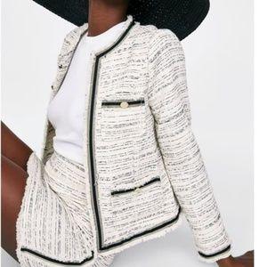 Zara Ecru Flecked Round Neck Blazer Jacket  M